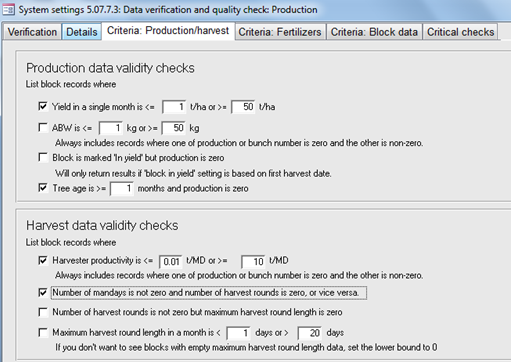 Data verification settings form with user-defined verification criteria.