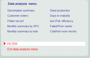 OMP Seed Production data analysis menu